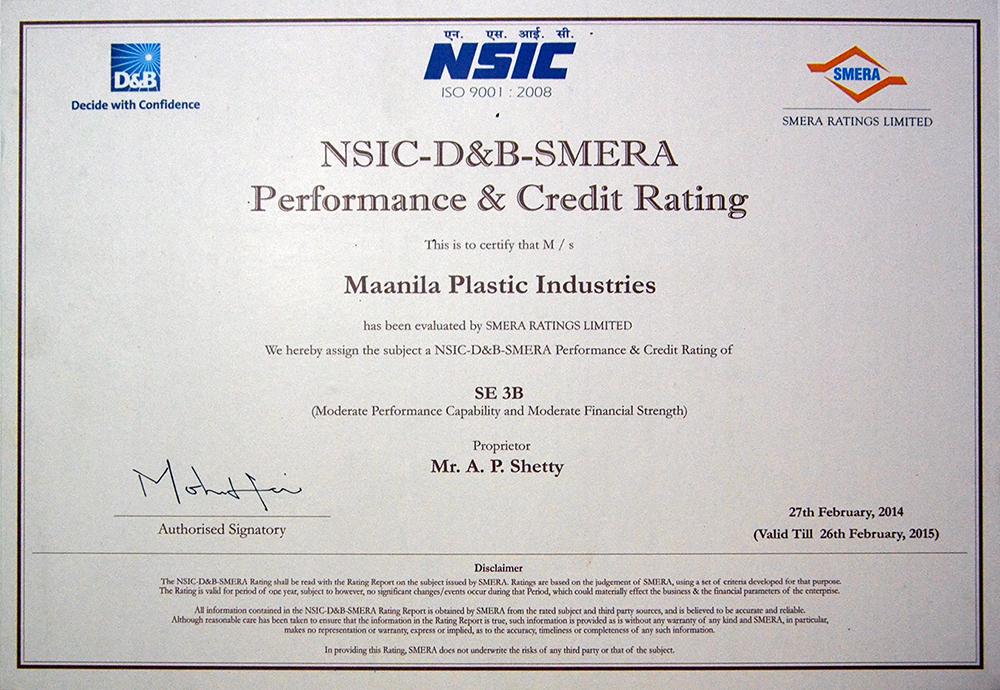 NSIC-D&B-SMERA Performance & Credit Rating
